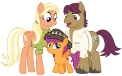 Size: 4000x2500 | Tagged: artist:cheezedoodle96, clothes, cute, cutealoo, earth pony, family, female, filly, hat, male, mane allgood, mare, pegasus, pony, raised eyebrow, raised hoof, safe, scootaloo, scootalove, shirt, simple background, snap shutter, spoiler:s09e12, stallion, svg, .svg available, the last crusade, transparent background, vector