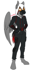 Size: 541x988 | Tagged: anthro, anthro oc, artist:redxbacon, assassin's creed, cargo pants, clothes, digitigrade anthro, fingerless gloves, gloves, goggles, hand on hip, hoodie, male, mask, oc, oc only, oc:shadow beat, pants, pegasus, safe, simple background, solo, solo male, white background, wings