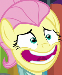 Size: 443x538 | Tagged: alternate hairstyle, bust, close-up, cropped, faic, fake it 'til you make it, female, fluttershy, mare, pegasus, pony, safe, screencap, severeshy, smiling, solo, uvula, wide eyes