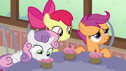 Size: 1920x1080   Tagged: safe, screencap, apple bloom, scootaloo, sweetie belle, earth pony, pegasus, pony, unicorn, the last crusade, cherry, cupcake, cute, cutie mark crusaders, diasweetes, eating, female, filly, foal, food, trio, weapons-grade cute