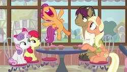 Size: 1920x1080 | Tagged: safe, screencap, apple bloom, mane allgood, scootaloo, snap shutter, sweetie belle, earth pony, pegasus, pony, unicorn, the last crusade, chair, clothes, cupcake, cutie mark, cutie mark crusaders, excited, female, filly, foal, food, happy, hat, it happened, male, mare, shirt, smiling, stallion, table, the cmc's cutie marks, yay