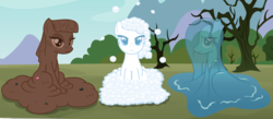 Size: 3928x1716 | Tagged: safe, artist:badumsquish, derpibooru exclusive, limestone pie, marble pie, maud pie, goo pony, monster pony, original species, pony, soap pony, water pony, bubble, frown, looking at you, mud, mud pony, rock, rock candy, rock farm, show accurate, sitting, smiling, soap, species swap, squishy, tree, trio, water