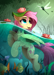 Size: 1700x2350 | Tagged: anatomically incorrect, artist:yakovlev-vad, chest fluff, cute, cutie mark, dragonfly, female, fish, fluttershy, headset, high res, humanoid legs, human shoulders, incorrect leg anatomy, insect, mare, nature, open mouth, partially submerged, pegasus, pony, rain, safe, shyabetes, smiling, solo, straightened thighs, swimming, underwater