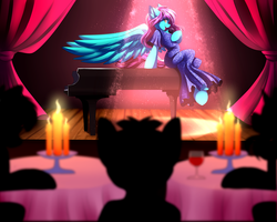 Size: 5555x4444 | Tagged: absurd res, artist:airiniblock, audience, candle, clothes, commission, dress, fire, glass, large wings, oc, oc only, oc:swing time, pegasus, piano, safe, semi-anthro, silhouette, sitting, spotlight, stage, table, wine glass, wings