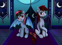 Size: 6300x4550 | Tagged: safe, artist:darksly, oc, oc only, oc:flying rain, oc:hestern haste, bat pony, pony, absurd resolution, bat pony oc, blushing, commission, raised hoof, sitting, tapestry