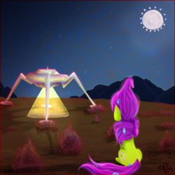 Size: 1447x1447   Tagged: safe, artist:overlord pony, oc, oc only, oc:nuclear blossom, pony, unicorn, desert, drugs, lsd, moon, sitting, solo, spaceship, ufo