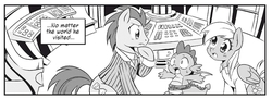Size: 1900x695   Tagged: safe, artist:nekoshiei, seven seas, derpy hooves, doctor whooves, spike, time turner, dragon, earth pony, pegasus, pony, doctor whooves and assistant, my little pony: the manga, my little pony: the manga volume 1, clothes, doctor who, female, male, manga, mare, monochrome, rope, stallion, tardis, tardis console room, tardis control room, the doctor, wide eyes, winged spike