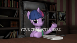 Size: 700x393 | Tagged: advertisement, alicorn, artist:missstormwarden, book, bookshelf, cigar, commission, couch, female, necktie, pony, safe, smoking, solo, twilight sparkle, twilight sparkle (alicorn), your character here, your character here auction