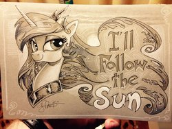 Size: 2048x1536 | Tagged: safe, artist:andypriceart, princess celestia, alicorn, pony, the beatles, traditional art