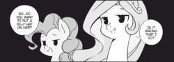 Size: 935x336 | Tagged: safe, artist:nekoshiei, seven seas, pinkie pie, princess celestia, earth pony, pony, my little pony: the manga, spoiler:manga, spoiler:manga1, female, implied twilight sparkle, mare, monochrome, offscreen character