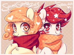 Size: 1280x959 | Tagged: safe, artist:jopiter, oc, oc only, oc:caroline, oc:temmy, earth pony, pony, clothes, duo, heart eyes, nation ponies, scarf, singapore, wingding eyes