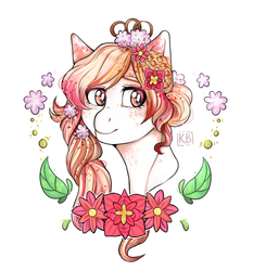 Size: 1769x1897 | Tagged: artist:karamboll, beautiful, braid, bust, cute, detailed, earth pony, flower, food, head, many details, orange, pink, pony, portrait, safe, solo, spots, syrup, waffle