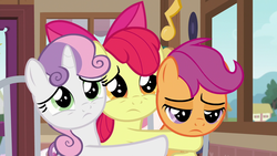 Size: 1920x1080   Tagged: safe, screencap, apple bloom, scootaloo, sweetie belle, earth pony, pony, the last crusade, cutie mark crusaders, female, hug, sad, sad eyes