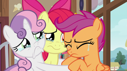 Size: 1920x1080 | Tagged: apple bloom, :c, cutie mark crusaders, earth pony, female, filly, foal, frown, pegasus, pony, sad, safe, scootaloo, screencap, spoiler:s09e12, sweetie belle, teary eyes, the last crusade, trio, unicorn