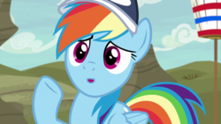 Size: 1920x1080 | Tagged: cap, common ground, hat, :o, open mouth, pegasus, pony, rainbow dash, safe, screencap, solo, spoiler:s09e06