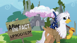 Size: 1192x670 | Tagged: safe, artist:mlp-silver-quill, oc, oc only, oc:silver quill, classical hippogriff, hippogriff, uprooted, spoiler:s09e03, after the fact, bindle, bindle stick, castle of the royal pony sisters, hippogriff oc, homeless, ruins, solo, teary eyes, treehouse of harmony, youtube thumbnail