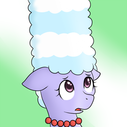Size: 500x500   Tagged: safe, artist:marikaefer, cloudchaser, pony, ask flitter and cloudchaser, alternate hairstyle, marge simpson, solo, the simpsons
