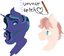 Size: 422x375 | Tagged: artist:summersketch-mlp, changepony, hybrid, interspecies offspring, kindverse, magical lesbian spawn, oc, oc:cursive quill, oc:firefly, offspring, parent:coco pommel, parent:princess luna, parent:queen chrysalis, parents:chrysaluna, parents:trenderpommel, parent:trenderhoof, safe