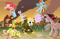Size: 3655x2400 | Tagged: alicorn, applejack, artist:muffinshire, beam struggle, burning, chains, commission, crossover, eyes closed, female, fight, fire, fluttershy, ghost pony rider, ghost rider, gritted teeth, injured, kicking, lying down, mane six, party cannon, pinkiecopter, pinkie pie, ponified, pony, ponyville, rainbow dash, rarity, safe, tailcopter, teary eyes, twilight sparkle, twilight sparkle (alicorn), underhoof