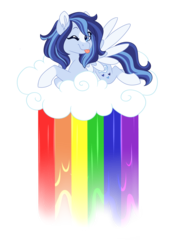 Size: 3200x4600 | Tagged: artist:azure-art-wave, cloud, female, liquid rainbow, mare, oc, oc:azure, one eye closed, pegasus, pony, safe, simple background, sitting on cloud, solo, tongue out, transparent background, wink