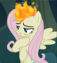 Size: 855x939 | Tagged: blushing, burning, clone, cropped, edit, edited screencap, mean fluttershy, pony, safe, screencap, sweat, the mean 6