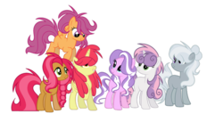 Size: 600x306 | Tagged: alicorn, alicornified, apple bloom, artist:thesmall-artist, babs seed, base used, bloomicorn, cutie mark crusaders, diamond tiara, long mane, older, pony, race swap, safe, scootaloo, silver spoon, simple background, sweetie belle, transparent background