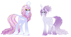 Size: 1236x646 | Tagged: safe, artist:faith-wolff, tree of harmony, oc, oc only, oc:harmony (heilos), kirin, fanfic:the bridge, before and after, cloven hooves, colored hooves, fanfic art, female, flower, flower in hair, flower in tail, goddess, long description