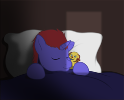 Size: 939x759 | Tagged: animated, animated png, artist:brightroom, bed, bedroom, oc, oc:blue blazes, oc only, pillow, plushie, safe, sleeping, solo, unicorn, ych result