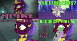 Size: 641x344 | Tagged: safe, edit, edited screencap, editor:undeadponysoldier, screencap, sphinx (character), spike, dragon, sphinx, daring done?, adorable face, arm behind back, asking for a hug, asking for snuggles, beautiful, caption, castle, crack shipping, crown, cute, daaaaaaaaaaaw, eyes closed, fangs, female, hug, hug request, image macro, jewelry, male, open mouth, regalia, shipping, smiling, snuggling, sphike, sphinxdorable, straight, teeth, temple, text, winged spike, wrong aspect ratio