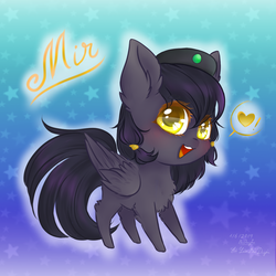 Size: 1200x1200 | Tagged: safe, artist:holambaoduyen, oc, oc only, oc:mir, pegasus, pony, beret, chest fluff, chibi, cute, ear fluff, female, hair wrap, happy, hat, heart balloon, looking at you, simple background, weapons-grade cute