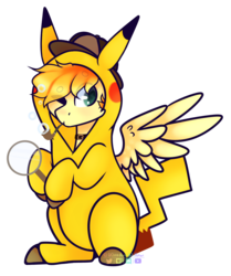 Size: 2598x3107 | Tagged: artist:wooden-willow, bubble, bubble pipe, deerstalker, detective, detective pikachu, hat, magnifying glass, oc, oc:aurryhollows, pony, safe, solo