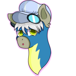 Size: 894x894 | Tagged: safe, artist:rainbowtashie, caboose, silver lining, silver zoom, oc, oc:air brakes, pegasus, pony, clothes, commissioner:bigonionbean, conductor hat, fusion, fusion:air brakes, goggles, male, stallion, uniform, wonderbolts uniform