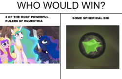 Size: 800x522 | Tagged: alicorn, cropped, crown, edit, edited screencap, female, jewelry, mare, meme, my little pony: the movie, open mouth, pony, princess cadance, princess celestia, princess luna, regalia, safe, screencap, who would win