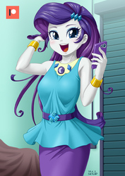 Size: 707x1000 | Tagged: safe, artist:uotapo, rarity, equestria girls, equestria girls series, rollercoaster of friendship, armpits, beautiful, blushing, bracelet, cellphone, cute, female, geode of shielding, happy, jewelry, magical geodes, open mouth, patreon, patreon logo, phone, raribetes, smartphone, solo, uotapo is trying to murder us