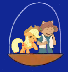 Size: 903x954 | Tagged: applejack, arthur, artist:guihercharly, crossover, driving, glass dome, laughing, safe, space, space pod, sue ellen armstrong, the jetsons