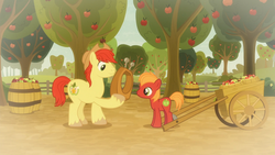 Size: 1920x1080 | Tagged: apple, apple tree, big macintosh, big macintosh's yoke, bright mac, cart, colt, colt big macintosh, duo, earth pony, father and son, flashback, foal, food, going to seed, like father like son, male, pony, safe, screencap, spoiler:s09e10, stallion, tree, yoke, younger