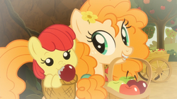 Size: 1920x1080 | Tagged: adorabloom, apple, apple bloom, apple cart, baby, baby apple bloom, baby pony, basket, big macintosh, continuity error, cute, debate in the comments, drool, duo focus, earth pony, female, filly, flashback, flower, flower in hair, foal, food, going to seed, hasbro is trying to murder us, headcanon in the comments, mare, mother and daughter, pearabetes, pear butter, pony, safe, screencap, spoiler:s09e10, younger