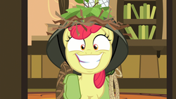 Size: 1920x1080 | Tagged: safe, screencap, apple bloom, earth pony, pony, going to seed, big grin, big smile, does this look like the face of mercy, faic, female, filly, foal, grin, helmet, saddle bag, slasher smile, smiling, snapple bloom, solo