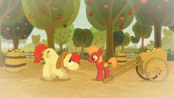 Size: 1920x1080 | Tagged: safe, screencap, big macintosh, bright mac, earth pony, pony, going to seed, spoiler:s09e10, apple, apple orchard, apple tree, barrel, big macintosh's yoke, cart, colt, colt big macintosh, duo, father and son, food, like father like son, male, stallion, tree, yoke, younger