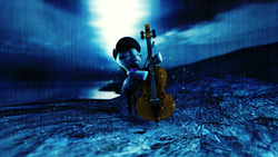 Size: 1920x1080 | Tagged: 3d, artist:brownypony, blue background, bow (instrument), cello, cello bow, moonlight, musical instrument, octavia melody, pony, safe, simple background, source filmmaker