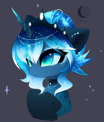 Size: 2172x2564 | Tagged: alicorn, artist:magnaluna, beautiful, black background, bust, chest fluff, choker, clothes, crown, cute, ear fluff, ethereal mane, eye clipping through hair, female, jewelry, lunabetes, moon, pony, portrait, princess luna, regalia, safe, shoulder fluff, simple background, slit pupils, smiling, socks, solo, starry mane