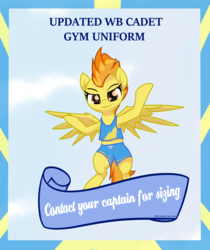 Size: 3447x4096 | Tagged: armpits, artist:wenni, clothes, female, flying, gym uniform, looking at you, mare, pegasus, pony, poster, safe, shorts, sky, smug, solo, spitfire, tanktop, wonderbolts