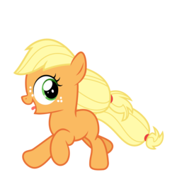 Size: 3200x3200 | Tagged: applejack, artist:cheezedoodle96, earth pony, female, filly, filly applejack, juxtaposition bait, laughing, looking back, open mouth, pony, running, safe, simple background, solo, svg, .svg available, tongue out, transparent background, vector, younger
