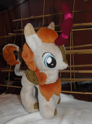 Size: 1349x1800 | Tagged: artist:crazyditty, autumn afternoon, background kirin, kirin, plushie, safe