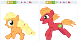 Size: 962x528 | Tagged: applejack, artist:cheezedoodle96, big macintosh, cute, derpibooru, duo, female, filly, filly applejack, going to seed, juxtaposition, meta, running, safe, spoiler:s09e10, younger