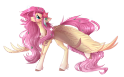Size: 2656x1656 | Tagged: safe, artist:monogy, fluttershy, butterfly, pegasus, pony, blushing, chest fluff, cute, female, flower, flower in hair, looking at you, mare, shyabetes, simple background, solo, spread wings, standing, stray strand, three quarter view, transparent background, unshorn fetlocks, wings
