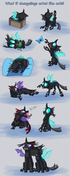 Size: 1000x2500 | Tagged: artist:racingwolf, behaving like a cat, brothers, butterfly, cardboard box, catling, changeling, changeling in a box, cute, hissing, licking, male, pharynx, safe, siblings, sleeping, thorabetes, thorax, tongue out, yarn, yarn ball