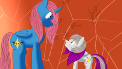 Size: 2560x1440 | Tagged: safe, artist:jimmy draws, oc, oc only, oc:hades, oc:misterious jim, alicorn, pegasus, pony, dad, demi-god, god, horn, male, prince of tartarus, son, tartarus, wings