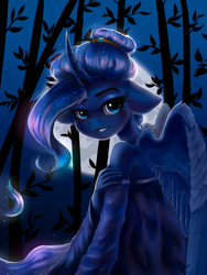 Size: 1200x1600 | Tagged: safe, artist:falafeljake, princess luna, alicorn, anthro, alternate hairstyle, bamboo, clothes, curved horn, cute, dress, ethereal mane, female, floppy ears, full moon, hair bun, horn, looking back, lunabetes, mare, moon, night, off shoulder, smiling, solo, starry mane