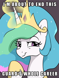 Size: 1000x1300 | Tagged: alicorn, artist:skitter, caption, cropped, crown, edit, female, glowing horn, hoof shoes, horn, image macro, jewelry, lidded eyes, looking at you, meme, princess celestia, regalia, safe, smiling, smirk, solo, text, trollestia